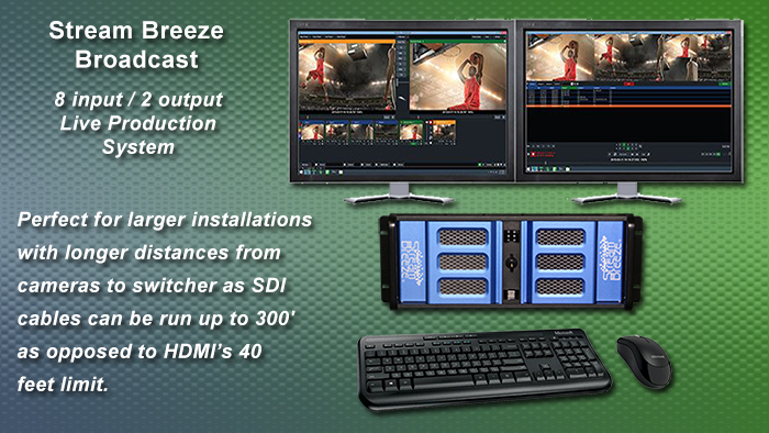 Stream Breeze Broadcast 8 input video production switching system